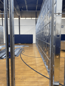 Framing for MS Temporary Classrooms in Small Gym