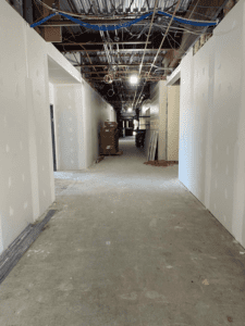 MS 100 Wing Corridor with Sheetrock Installed
