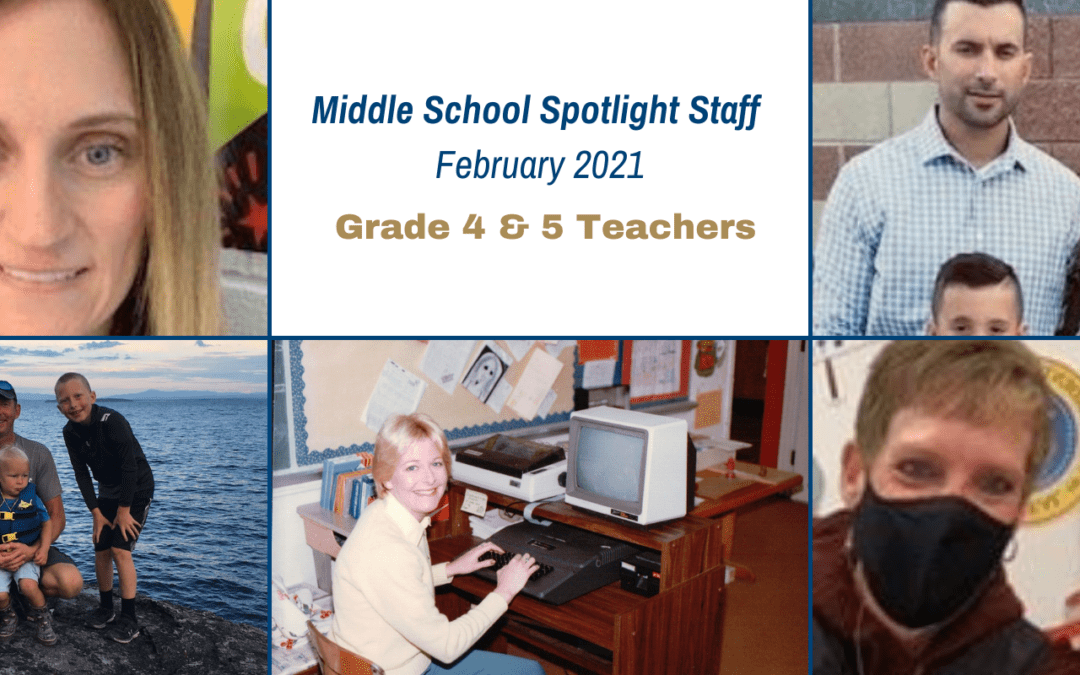 Middle School Spotlight Staff for February 2021!